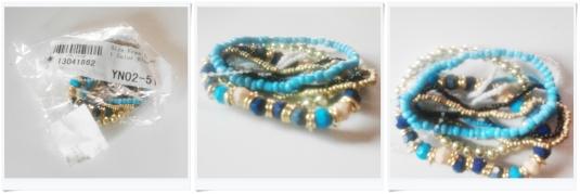 Bohemian Style Bead Layers Gelang Biru