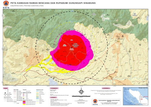 Kawasan Rawan Bencana Gunung Sinabung (setelah revisi, PVMBG) di Kabupaten Karo
