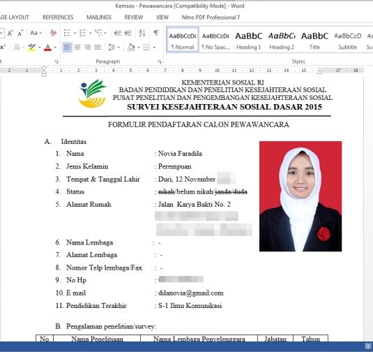 Formulir Pendaftara SKSD - Dila